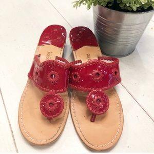 Jack Rogers Red Patent Sandals Flip Flops Shoes 8